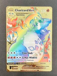Charizard Rainbow VMAX Pokemon Card Shiny Gold Metal Champion's Path 074/073