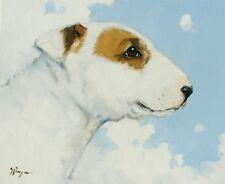 Original peinture à l'huile-Pet Portrait-Bull terrier chien/chiot par J Payne