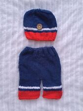 Newborn Baby Boy Knit Hat & Pants Crochet 2 Piece Set Photo Props blue white red