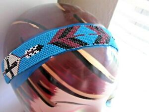 AZTEC HAIR  BEAD HEADBAND WESTERN TURQUOISE INDIAN Equestrian PONYTAIL HOLDER