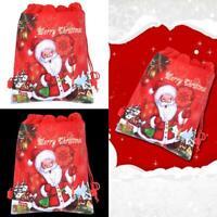 1Pcs Non-woven Christmas Santa Claus Strings Drawstring Xmas Gift Red Bags 2019