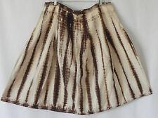 Michael Kors Skirt 100% Linen Tie Dye Brown Fit-Flared Size 14