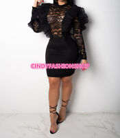 Women Ruffle Sheer Lace Body con Long Sleeve Night Club Party  Mini Dress #A21