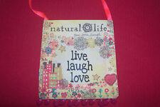 New Natural Life LIVE LAUGH LOVE Mini Bohemian Hippie Shoulder Strap Purse Bag