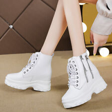 Gothic Women Platform Lace Up Zipper Round Toe Punk Motorcycle Ankle Boots Shoes