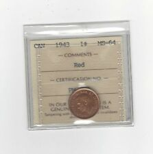 **1943**,ICCS Graded Canadian, Small One Cent, **MS-64**