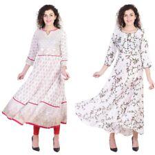 Women Indian Rayon Kurti Long Anarkali Handmade Designer Kurta Kurti Top 8032-33