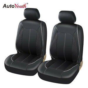 Auto Universal Front Car Seat Covers Car Seat Protector Leatherette 2PCS Black