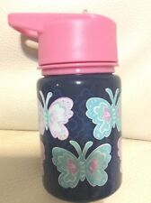 Pottery Barn Kids Mackenzie Water Bottle Pink Navy Butterfly New, Unused Thermos