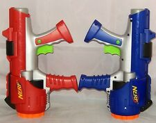 NERF RED & BLUE DART TAG HYPERFIRE 10-SHOT ROTATING BARREL GUNS ~ FUNCTIONAL