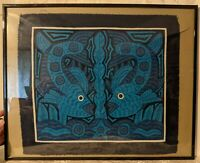 Vintage Fish Water Mola Applique Textile Art - Framed - Gorgeous Shades of Blue