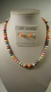 Lee Sands Wacky Friday Multi Colored Cultured Freshwater Pearl NK & ER Set