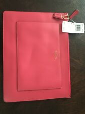 NWT COACH Leather Darcy Large Tech Pouch for iPad or tablet. Color: Pomegranate