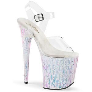 "Pleaser 8"" white hologram geometric print sandals"