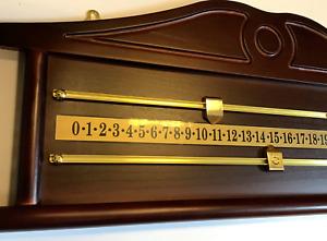EX SHOWROOM demo 2 player snooker scoreboard brass rails mahogany effect