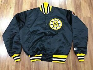 MENS LARGE - Vtg 80s 90s NHL Boston Bruins Starter Sewn Quilted Snap Jacket
