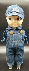 VINTAGE 50-60's BUDDY LEE DOLL W/ UNION MADE LEE DENIM OVERALLS *NO ARMS*