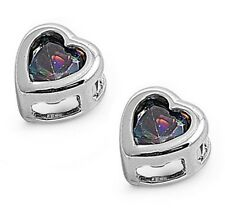 Silver Earrings with Cubic Zirconia Stud Rainbow Topaz Height 6 mm (0.27inch)