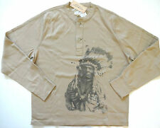 New Ralph Lauren Denim and Supply Khaki Indian Head Cotton Henley Shirt S