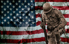 Solider Statue and American Flag by Identical Exposure Poster Print, 19x13
