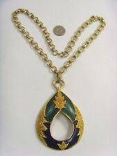 vintage bold statement gold tone emerald green enameled pendant necklace 50093