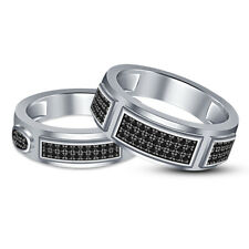 Round AAA Diamond His & Her Lover Sterling Silver Couple Wedding Band Ring Set