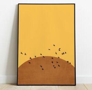 Minimal Sun Art Print, Bird Art Print, Pop Art Art Print, Wall Art