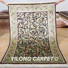 Yilong 4'x6' Classic Silk Rugs Handmade Indoor Carpet Oriental Hand-knotted 0680