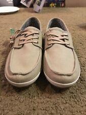 Sanuk Boat Shoes Khaki Tan Canvas Casa Barco Lace Up Oxford Sneaker sz 12
