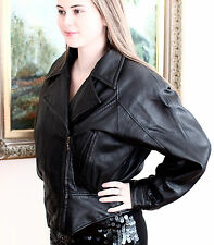 WILSONS Leather Jacket Motorcycle Moto Military Biker S BLACK VINTAGE 80s