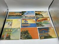 VINTAGE LOT OF 9 LINEN SOUVENIR POSTCARD BOOKS FOLD-OUT CITIES & STATES LOT #1