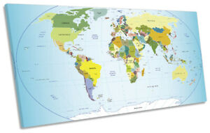 Map of the World Atlas Print PANORAMIC CANVAS WALL ART Picture Blue