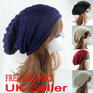 Mens Ladies Knitted Woolly Winter Oversized Slouch Beanie Hat Cap skateboard
