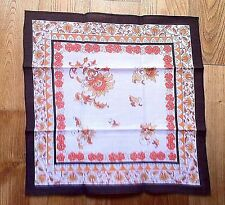 FRENCH 1950s SCARF~POCKET SQUARE~BOHEMIAN FLORAL PROVENCE / INDIENNE COTTON~NEW