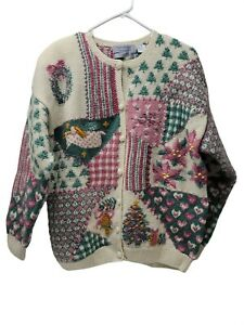 NORTHERN ISLES VTG Hand Knit XL Christmas Sweater 100% Wool Pink Green Button Up