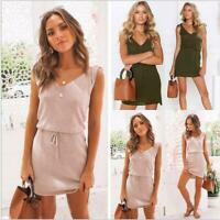 Casual Summer Sleeveless Womens Holiday Sundress Mini Dress Party Beach Dresses