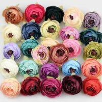 Bulk 5-100P Mix Artificial Silk Flower Heads Fake Rose Camellia Peony DIY Craft