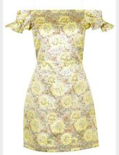 Topshop Holographic Silver Lemon Yellow Party Bardot Floral Dress Size 8