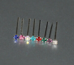 TINY 1MM FLAT CRYSTAL SILVER STRAIGHT PIN NOSE STUD