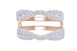 1 1/7 Ct Diamond Twist Split Shank Solitaire Enhancer Ring 14K Rose Gold Over