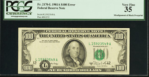 1981A $100 FEDERAL RESERVE ERROR NOTE Misalignment Error of Black Seal PCGS VF