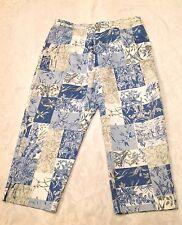 Women's WILDLIFE SPORTSWEAR Size 14 Blue Beige Nature Print Cropped CAPRIS Pants
