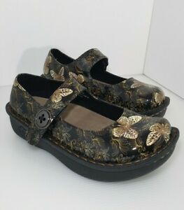 New Black & Gold Butterfly Mary Jane Slip Resistant Nurse Comfort Clog 8 in Box