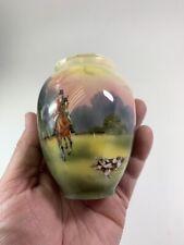 "Royal bayreuth Fox Hunt Vase 3 1/2"" Tall"