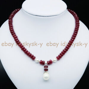 5x8mm Faceted Ruby 8mm White Shell Pearl & 12x16mm Drop Pendant Necklace 18'' AA