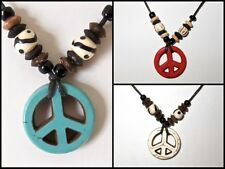 PEACE SIGN PENDANT BLACK CORD NECKLACE WOOD BEADS 70s HIPPIE BOHO SURF men women