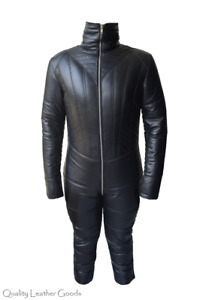 BESPOKE MENS PADDED LEATHER CATSUIT OVERALL BODYSUIT JUMPSUIT  COSPLAY FN 75