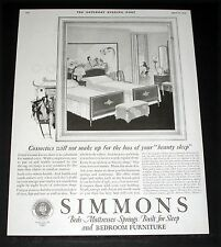 1924 Old Magazine Print Ad, Simmons, Beds, Mattresses Springs Bedroom Furniture!