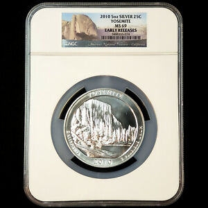 2010 5oz 0.999 Silver 25C YOSEMITE - NGC MS 69 Early Releases - No Reserve