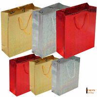 Medium Shiny Paper Carrier Present Gift Bags Christmas Wedding Birthday 22 x17cm